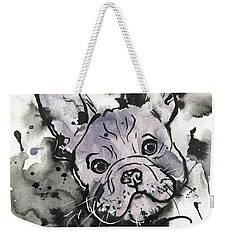 Weekender Tote Bag featuring the painting Lilac Frenchie by Zaira Dzhaubaeva