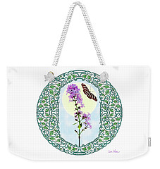 Weekender Tote Bag featuring the digital art Lilac With Butterfly by Lise Winne