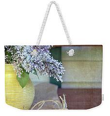 Lilacs In Yellow Vase Weekender Tote Bag