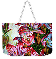 Weekender Tote Bag featuring the painting Lilies by Harsh Malik