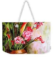 Weekender Tote Bag featuring the painting Lilies In The Pots by Harsh Malik