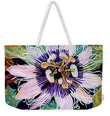 Weekender Tote Bag featuring the painting Lilikoi by Marionette Taboniar