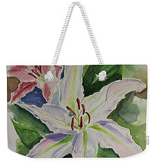 Lillies Watercolor Still Life Weekender Tote Bag