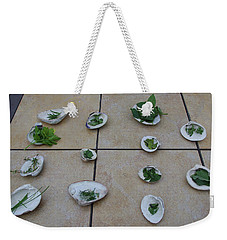 Weekender Tote Bag featuring the photograph Lilly's Herb Seashore Seashells by Greg Graham