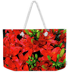 Weekender Tote Bag featuring the photograph Lily Blossoms by LeeAnn McLaneGoetz McLaneGoetzStudioLLCcom