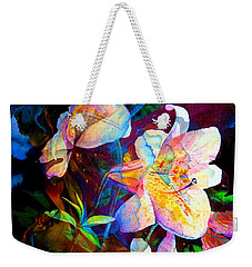 Weekender Tote Bag featuring the painting Lily Fiesta Garden by Hanne Lore Koehler