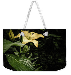 Weekender Tote Bag featuring the photograph Lily In The Garden Of Shadows by Marco Oliveira