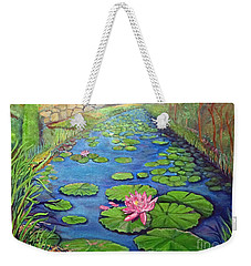 Weekender Tote Bag featuring the painting Water Lily Canal by Ecinja Art Works