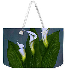 Weekender Tote Bag featuring the painting White Calla Lilies by Peter Piatt