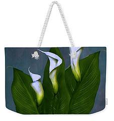 White Calla Lilies Weekender Tote Bag by Peter Piatt
