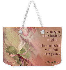 Weekender Tote Bag featuring the digital art Lily Text - Et01b by Variance Collections