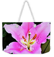 Weekender Tote Bag featuring the photograph Lily The Pink by Jessica Manelis
