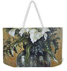 Lily-oil On Canvas Painting Weekender Tote Bag by Vali Irina Ciobanu