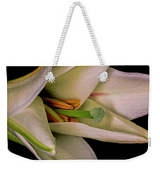 Weekender Tote Bag featuring the photograph Lily White by Roy McPeak