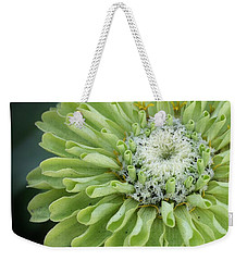Lime Green Zinnia Weekender Tote Bag by Bruce Bley