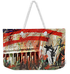 Weekender Tote Bag featuring the painting Lincoln Memorial And Lincoln Statue by Gull G