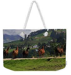 Line-dancing Llamas At Ingapirca Weekender Tote Bag