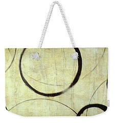 Weekender Tote Bag featuring the painting Linen Ensos by Julie Niemela
