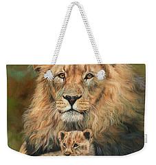 Lion And Cub Weekender Tote Bag by David Stribbling