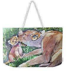 Lion And Cub Weekender Tote Bag