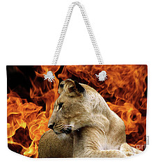 Lion And Fire Weekender Tote Bag