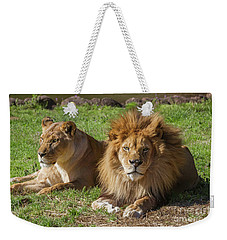 Lion And Lioness Weekender Tote Bag