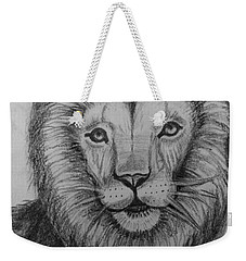 Weekender Tote Bag featuring the painting Lion by Brindha Naveen