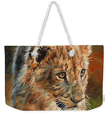 Weekender Tote Bag featuring the painting Lion Cub Portrait by David Stribbling