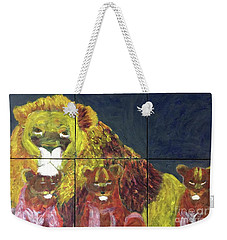 Weekender Tote Bag featuring the painting Lion Family by Donald J Ryker III