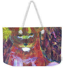 Weekender Tote Bag featuring the painting Lion Family Part 5 by Donald J Ryker III