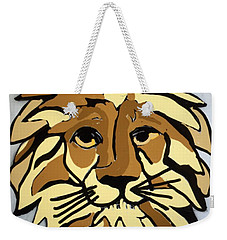 Weekender Tote Bag featuring the drawing Lion Front by Erika Chamberlin