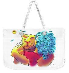 Weekender Tote Bag featuring the drawing Lion Hug by Angela Treat Lyon