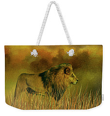 Lion In The Mist Weekender Tote Bag by Diane Schuster