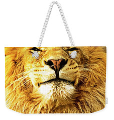 Weekender Tote Bag featuring the photograph Lion King 1 by Ayasha Loya