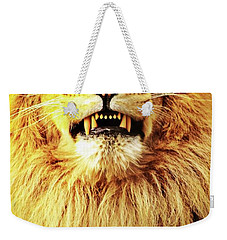 Weekender Tote Bag featuring the photograph Lion King Smiling by Ayasha Loya