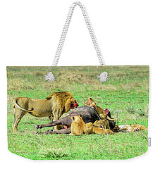 Lion Pride With Cape Buffalo Weekender Tote Bag
