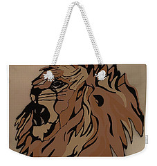 Weekender Tote Bag featuring the drawing Lion Side by Erika Chamberlin