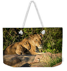 Weekender Tote Bag featuring the photograph Lioness And Cub 1203 by Janis Knight
