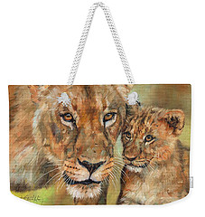 Weekender Tote Bag featuring the painting Lioness And Cub by David Stribbling