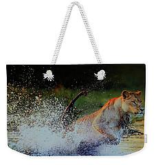 Lioness In Motion Weekender Tote Bag