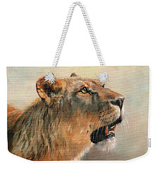 Weekender Tote Bag featuring the painting Lioness Portrait 2 by David Stribbling