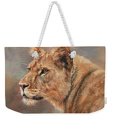 Weekender Tote Bag featuring the painting Lioness Portrait by David Stribbling
