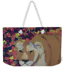 Weekender Tote Bag featuring the painting Lioness Pride 1 Of 6 by Donald J Ryker III
