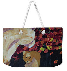 Weekender Tote Bag featuring the painting Lioness' Pride 3 Of 6 by Donald J Ryker III