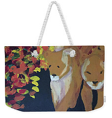 Weekender Tote Bag featuring the painting Lioness' Pride 4 Of 6 by Donald J Ryker III