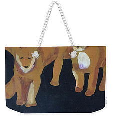 Weekender Tote Bag featuring the painting Lioness' Pride 5 Of 6 by Donald J Ryker III