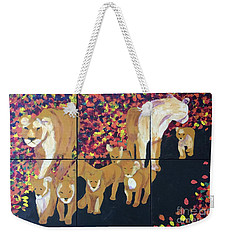 Weekender Tote Bag featuring the painting Lioness Pride by Donald J Ryker III