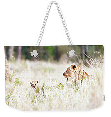 Lioness With Baby Cub In Grasslands Weekender Tote Bag
