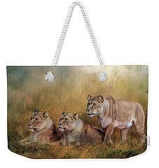 Lionesses Watching The Herd Weekender Tote Bag
