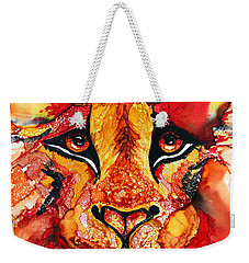 Lion's Head  Red Weekender Tote Bag